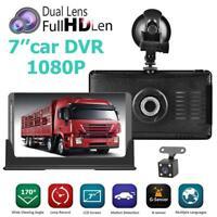 "7"" Car Truck DVR Camera Full HD 1080p Dual Lens Dash Cam 12V/24V for Van Lorry"
