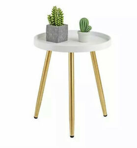 HuiDao Round Side Table Wooden Tray Table with Metal Tripod Stand Nightstand Cof