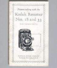 Kodak Recomar No. 18 and 33 Instruction Manual 1937 F4.5 Anastigmat