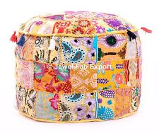 Indian Patchwork Floor Ottoman Pouf Ethnic Moroccan Footstool Pouf Cover