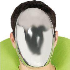Full Face Shiny Silver Metallic Alien Halloween Anonymous Mask Fancy Dress Item