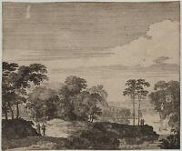 Wanderer in der Landschaft kleiner Original Kupferstich um 1780 Wald Kunst