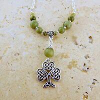 Irish Connemara Marble necklace w/ Shamrock pendant & Celtic Knots