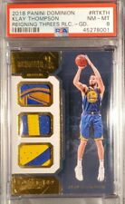 2018 Klay Thompson Panini Dominion Game Used Jersey Patch GOLD 4/7 PSA NM-MT 8