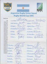 Argentina rugby 1991 Copa del Mundo Squad Rare Orig tarjeta firmada a mano 29 X autógrafos