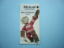 1987/88 MUTUAL LIFE OF CANADA NHL HOCKEY SCHEDULE