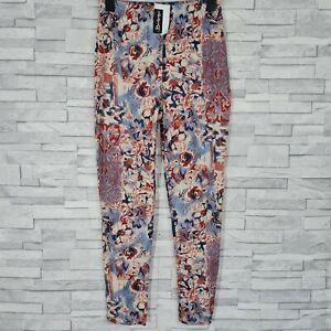New BERKERTEX Floral Print Leggings Size 14/16-UK Multicoloured Cotton 26L