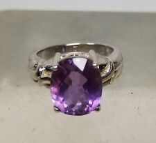 Antique Vintage Sterling Silver Hallmarked Amethyst Ring Jewelry