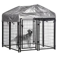 Welded Heavy Duty Outdoor Dog Kennel Run Cage Pen House W/Water Resistant Cover