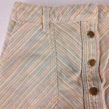 Pilcro and the Letterpress Button Front Skirt Size 4 Striped Cotton Chino Retro