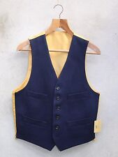 Blue Traditional Wool Waistcoat by Gurteen size 38 - 52in Four pockets 6 buttons