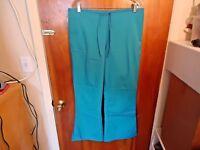 "Cherokee Size M Blueish Green Scrubs Pants "" BEAUTIFUL PAIR """