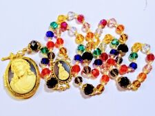 Beautiful Antiqued Vatican Style Jesus Cameo Multi Color Crystal Bead Rosary