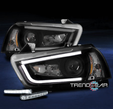 2011-2014 DODGE CHARGER LED TUBE PROJECTOR HEADLIGHTS LAMPS BLACK W/BUMPER DRL