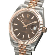 Rolex DATEJUST 41mm 126331 Mens Steel & Pink Gold Jubilee Chocolate Index Dial