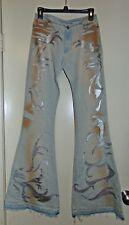 Miss Sixty jeans huge flare light gray silver embellished jeans rare Size 29 NWO