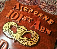 101st Airborne vietnam war 1973-77 vtg trench art wall plaque military man cave