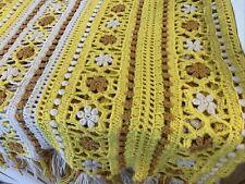 Vintage Handmade Hand Crochet Rose Afghan 45x35 mid century modern