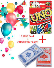 UNO Card Game Family & Friends Playing Card Games + 2 Deck Poker Cards COMBO