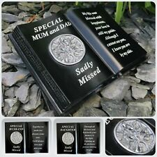 Memorial Black Silver Diamante Tree of Life Book Grave Plaque Ornament Tribute