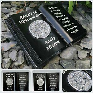 Memorial Black Silver Diamante Tree of Life Book Grave Plaque Ornament Tribute