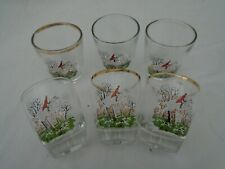Vintage 1960's Shot Glasses X6 Hunting Horse And Dogs.