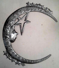 "Moon with Stars Celestial Modern Wall Art Metal Oil Drum Haitian Wall Decor 24"""