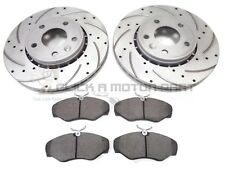 RENAULT TRAFIC 2001-2014 FRONT DRILLED & GROOVED BRAKE DISCS AND MINTEX PADS