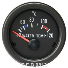 52MM CLEAR LENS / BLACK FACE WATER TEMPERATURE TEMP GAUGE (°C)