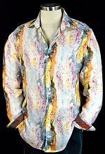 """Robert Graham """"Amaro"""" NWT $298 Paint Splatter Light Weight Sports Shirt 3XL"""