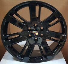 "22""  Wheels Gloss Black Rims Tires Fit Cadillac Escalade ESV EXT Yukon 24 Sierra"