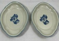 "Pfaltzgraff USA Yorktowne 8"" Scalloped Oval Dish No.601 Dish Lot of 2"