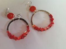 925 Hammered Silver Big Hoops Earrings with Red Coral Stones