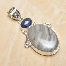 "Handmade Natural Ocean Jasper Gemstone 925 Sterling Silver Pendant 2.25"" #P16805"