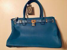 NWT Isabelle Handbags Blue Faux Leather Purse Vegan Shoulder Straps (B7)