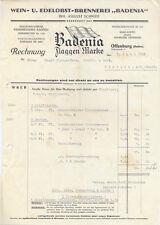 Offenburg Baden alte Rechnung Wein-Brennerei Badenia 1938 dekorativ