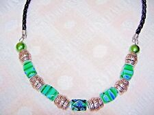 Green & Blue Millefiori Glass, Tibetan Silver & Black Woven Leather Necklace NWT