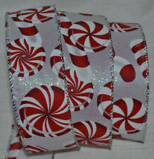"""Wired Ribbon~Christmas Red & White Candy Cane~Peppermint~Holiday~1 .5""""~Wreath~Bow"""