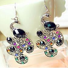 Women Vintage Earrings Multicolor Rhinestone Peacock Dangle Drop Eardrop Cheap