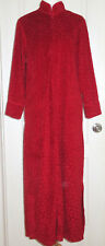 Natori Women's Trance Red Geometric Jacquard Soft Velvet Zip Caftan Robe Medium