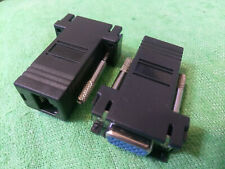 2X Extender VGA RGB HDB 15pin Female to LAN CAT5 CAT6 RJ45 Network Cable Adapter
