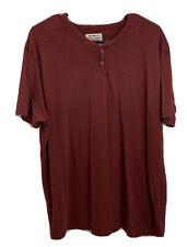 Lucky Brand XXL Red Henley Button Collar Short Sleeve Pullover Shirt