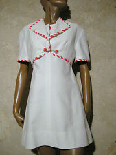 CHIC VINTAGE ROBE & BOLERO PIQUé COTON 1960 VTG DRESS SUIT 60s SIXTIES (36/38)