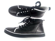 ROCKPORT Men's Sneakers Black/ White Stripe Patent Leather high top Shoes Sz 12M