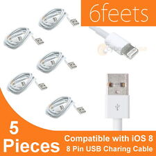5x 6ft 8 Pin USB Data Sync Charger Cable Cord for iPhone 5S 6 iPod Touch iOS 8..