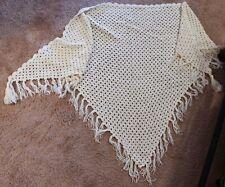Hand Crocheted Cream Shawl with Tassels