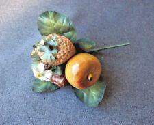 Vintage Carmen Miranda plastic fruits & fabric leaves millinery applique #4
