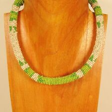 "18"" Green Color Handmade Seed Bead Choker Rope Style Necklace"