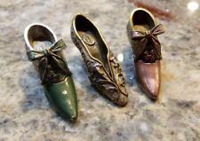 Vintage Sweet Romance Brass & Pewter Miniature Ladies's Shoes Set of 3