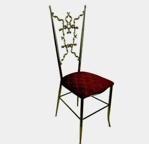 Vintage Chiavari Chair Brass Hollywood Regency Italian Authentic Rare Model WOW